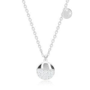 Strieborný 925 náhrdelník - plochý krúžok, väčší kruh s ligotavými zirkónmi
