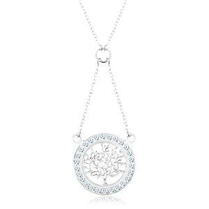Strieborný 925 náhrdelník, retiazka a prívesok - strom života so zirkónovou obrubou
