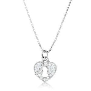 Strieborný 925 náhrdelník - retiazka s príveskom, srdcová kladka s kľúčikom