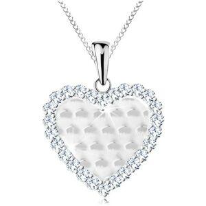 Strieborný 925 náhrdelník, srdiečko s ligotavými oblúčikmi a čírym lemom