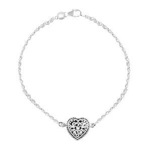 Strieborný 925 náramok, srdce s patinou a ornamentmi