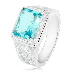 Strieborný 925 prsteň, ramená s ornamentom, svetlomodrý zirkón, číra obruba - Veľkosť: 65 mm