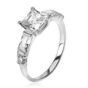 Strieborný 925 prsteň, štvorcový zirkón, štyri menšie kamene v ramenách - Veľkosť: 50 mm