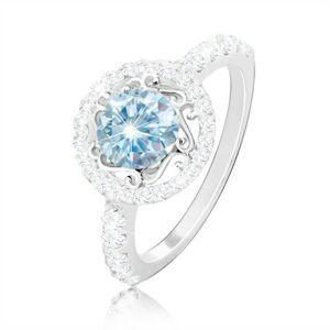 Strieborný 925 prsteň - svetlomodrý zirkón, ornamenty, zirkónová obruč a ramená - Veľkosť: 65 mm