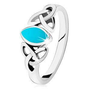 Strieborný 925 prsteň, tyrkysové zrnko, keltský symbol Triquetra - Veľkosť: 54 mm