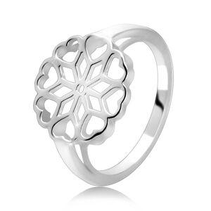 Strieborný 925 prsteň - vyrezávaný kvet, srdiečkové lupene - Veľkosť: 70 mm