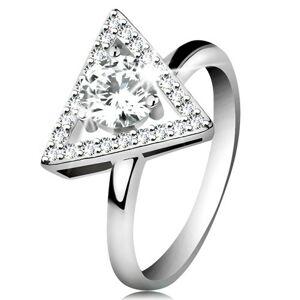 Strieborný 925 prsteň - zirkónový obrys trojuholníka, okrúhly číry zirkón v strede - Veľkosť: 56 mm