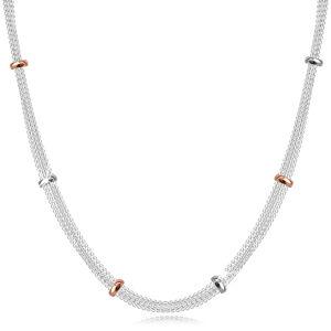 Strieborný 952 náhrdelník - retiazky bodovo spájané striebornými a ružovo-zlatými korálikmi