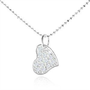 Strieborný náhrdelník 925, asymetrické srdce s čírymi zirkónmi