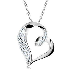 Strieborný náhrdelník 925, nepravidelná kontúra srdca so slučkou a zirkónikmi