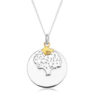 Strieborný náhrdelník 925, okrúhla známka - strom života, vtáčik zlatej farby