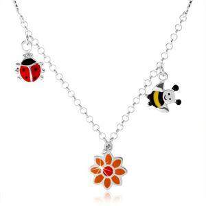 Strieborný náhrdelník 925 pre deti, farebná lienka, kvietok, včielka