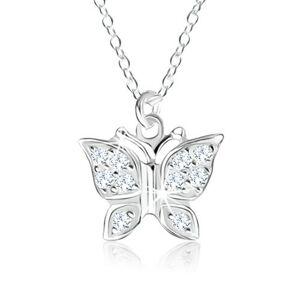 Strieborný náhrdelník 925, prívesok - motýlik vykladaný čírymi zirkónmi