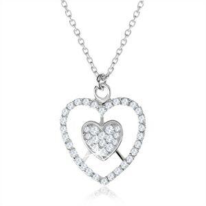 Strieborný náhrdelník 925, srdce a kontúra srdca s čírymi zirkónmi