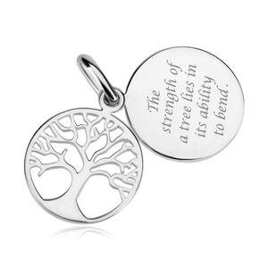 Strieborný prívesok 925, dvojitý kruh s vyrezávaným stromom a citátom