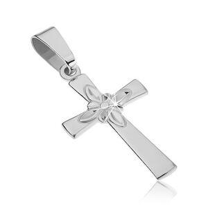 Strieborný prívesok 925 - hladký kríž s ozdobným kvetom v strede
