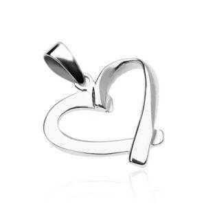 Strieborný prívesok 925 - lesklý, zložený obrys srdca