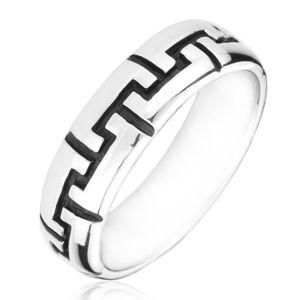 Strieborný prsteň 925 - čierne gravírované zúbky - Veľkosť: 55 mm