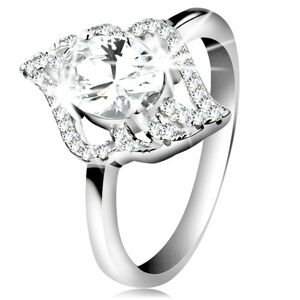 Strieborný prsteň 925, kontúra číreho lístka s veľkým oválnym zirkónom - Veľkosť: 55 mm