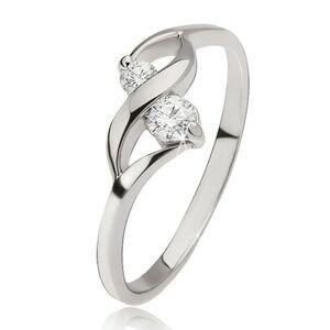 Strieborný prsteň 925 - lesklá vlnka, dva okrúhle číre kamienky v kotlíkoch - Veľkosť: 52 mm