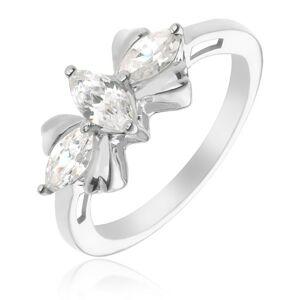 Strieborný prsteň 925 - mašľa s tromi čírymi kameňmi - Veľkosť: 58 mm