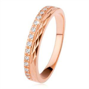 Strieborný prsteň 925 medenej farby, diamantový rez, zirkónová línia - Veľkosť: 68 mm