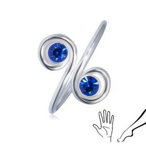 Strieborný prsteň 925 na ruku alebo nohu - dva modré zirkóny v špirálach