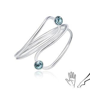 Strieborný prsteň 925 na ruku alebo nohu, svetlomodré zirkóny v obryse slzy