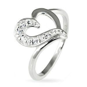 Strieborný prsteň 925 - nepravidelné srdce so zirkónovou polovicou - Veľkosť: 52 mm