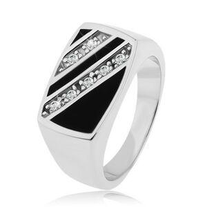 Strieborný prsteň 925, obdĺžnik - šikmé línie čírych zirkónov, čierna glazúra - Veľkosť: 54 mm
