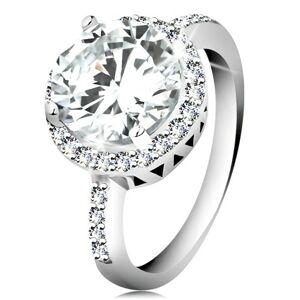 Strieborný prsteň 925, okrúhly brúsený zirkón, číry zirkónový lem - Veľkosť: 56 mm