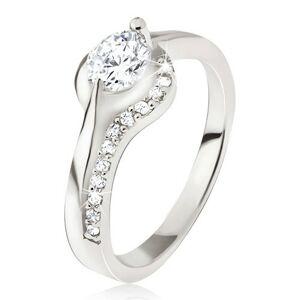 Strieborný prsteň 925, okrúhly číry kamienok, zaoblené ramená, zirkóniky - Veľkosť: 57 mm
