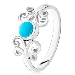 Strieborný prsteň 925, okrúhly tyrkys, lesklé ornamenty, úzke ramená - Veľkosť: 50 mm