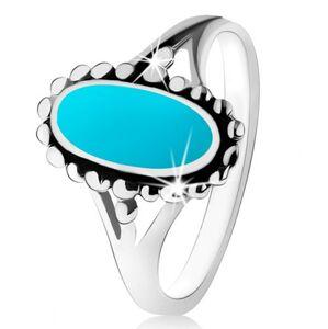 Strieborný prsteň 925, ovál z tyrkysu, kontúra z guličiek, rozdelené ramená - Veľkosť: 60 mm