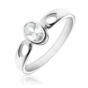 Strieborný prsteň 925 - oválny číry zirkón, ramená so slzičkami - Veľkosť: 52 mm