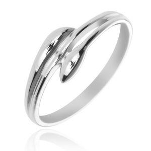 Strieborný prsteň 925 - rozvetvené ramená v podobe listov - Veľkosť: 58 mm