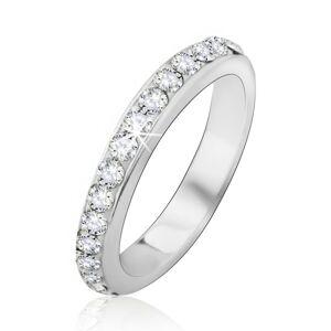 Strieborný prsteň 925 so vsadenými čírymi kamienkami - Veľkosť: 55 mm