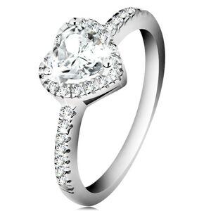 Strieborný prsteň 925 - trblietavé srdce s čírym zirkónovým lemom - Veľkosť: 48 mm