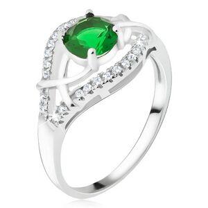 Strieborný prsteň 925 - zelený okrúhly kamienok, zirkónové ramená - Veľkosť: 67 mm