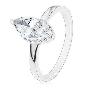 Strieborný prsteň 925, zrnkový zirkón čírej farby v dekoratívnom kotlíku - Veľkosť: 51 mm
