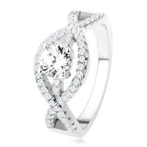 Strieborný prsteň 925, zvlnené zirkónové línie, okrúhly číry kameň - Veľkosť: 66 mm