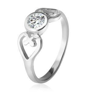 Strieborný prsteň, obrysy sŕdc, číry okrúhly zirkón v objímke, striebro 925 - Veľkosť: 51 mm