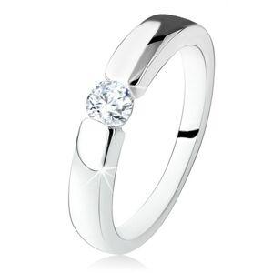 Strieborný zásnubný prsteň 925, hladké a lesklé ramená, okrúhly zirkón - Veľkosť: 49 mm