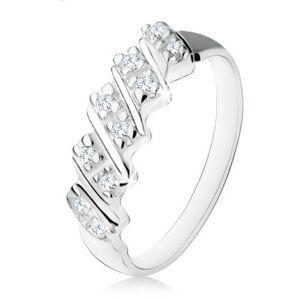 Strieborný zásnubný prsteň 925, päť šikmých pásikov s čírymi zirkónmi - Veľkosť: 55 mm