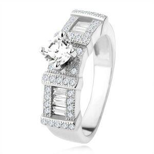 Strieborný zásnubný prsteň 925, zirkónové obdĺžniky, okrúhly kamienok - Veľkosť: 54 mm
