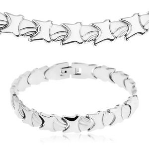 Súprava z ocele 316L - náhrdelník a náramok, lesklo-matné ozdobné články