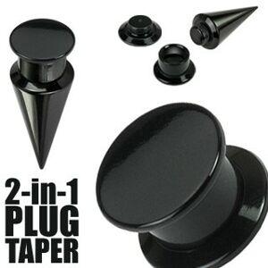 Taper a plug 2 v 1 čierny - Hrúbka: 4 mm