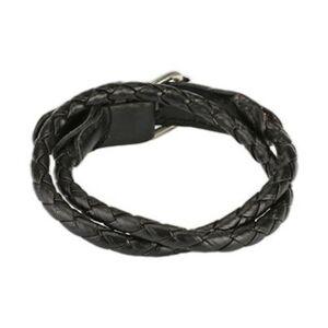 Tenký prepletaný kožený náramok - Farba: Čierna