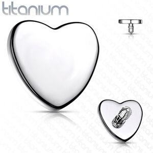 Titánová náhradná hlavička do implantátu, srdiečko 4 mm, strieborná farba, hrúbka 1,6 mm