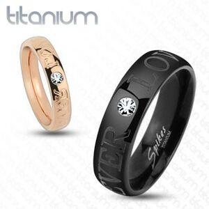 Titánová obrúčka medenej farby, nápis FOREVER LOVE, číry zirkón, 4 mm - Veľkosť: 57 mm